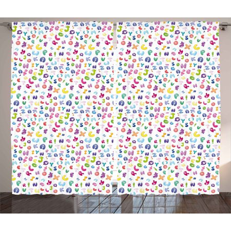 Kids Curtains 2 Panels Set, Cute Colorful Alphabet Abc Bubble Letters Doodle Style Fun Childish Nursery Design, Window Drapes for Living Room Bedroom, 108W X 108L Inches, Multicolor, by Ambesonne ()