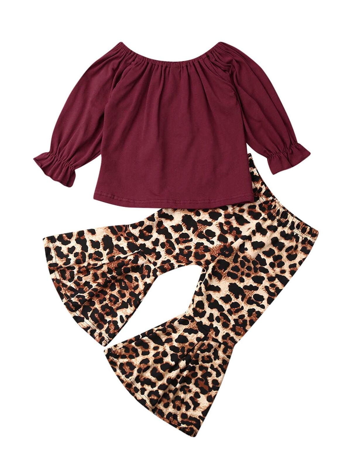 Newborn Kids Baby Girl Tops T-shirt Flared Pants Bell-Bottom Fall Outfits Set