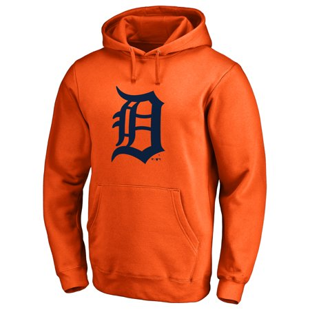 Detroit Tigers Secondary Color Primary Logo Pullover Hoodie - Orange Detroit Tigers Youth Fleece Pullover