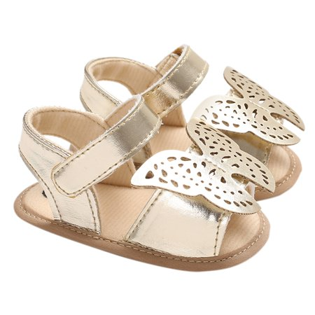 Baby Girls Shoes Soft Sole Non-Slip PU Leather Sandal Prewalker Butterfly Princess Shoes Gold 13cm For 12-18 Months (Disney Princess Sandals)