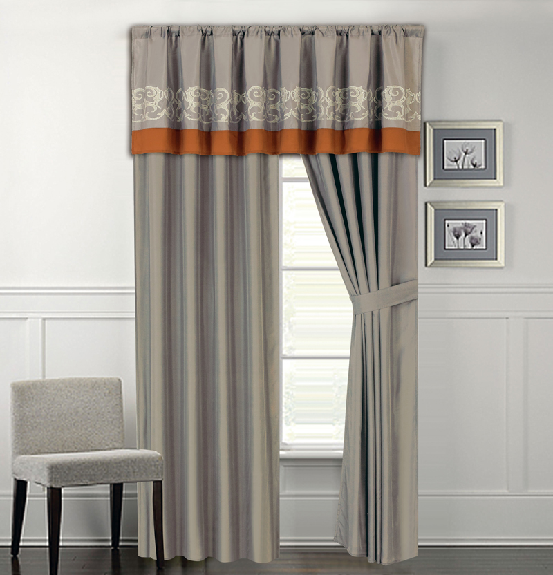 Kinglinen Anderson Embroidered Curtain Set Gray