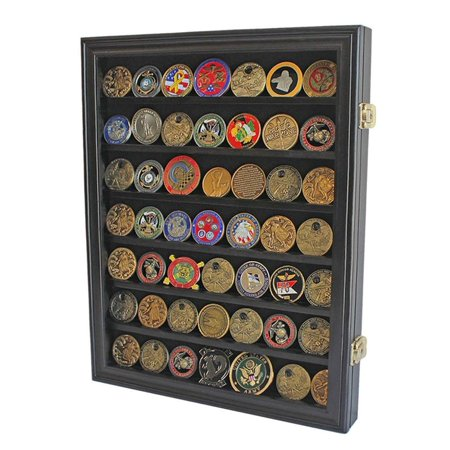 Military Coin Display - Lockable Military Challenge Coin Casino Chip Display Case Cabinet Rack Shadow Box, COIN26-BLA, Distinguished workmanship, material and design. Details.., By DisplayGifts