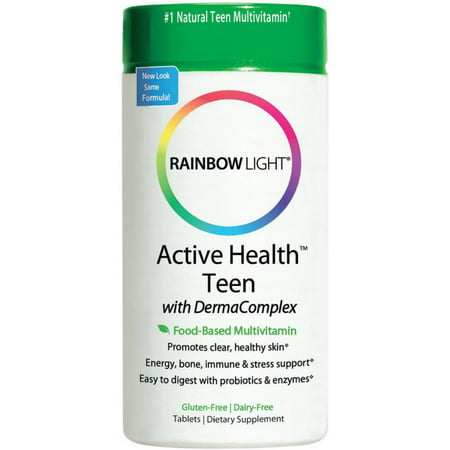 Rainbow Light Active Health Teen with DermaComplex Multivitamin Tablets 60 ea (Pack of 2) (Kirkland Active Vitamin Pack)