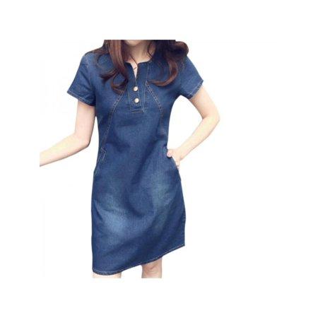 ffc2084082 ... Casual Bodycon Plus Size Hot. Sweetsmile Women S Short Sleeve Denim  Dress Swetsmile