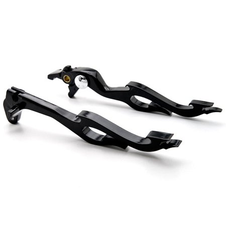 Krator Suzuki Black Brake / Clutch Flame Hand Levers - GSXR 600 750 1000 TL1000S and More! 1996-2012 Billet Aluminum Black Brake and Clutch Flame Hand Grips Levers Left and