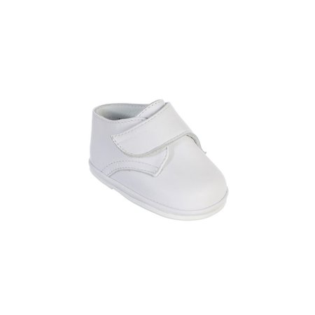 Boys White Hook And Loop Leather Christening Shoes - Boys White Vans Shoes