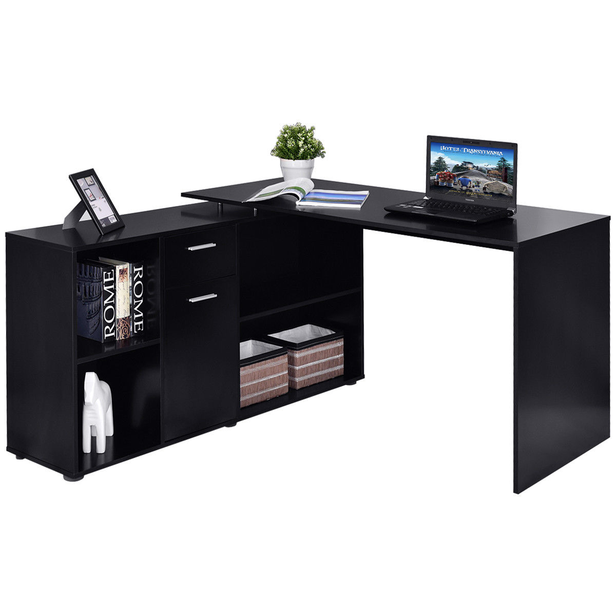 Costway Rotating L Shape Computer Desk