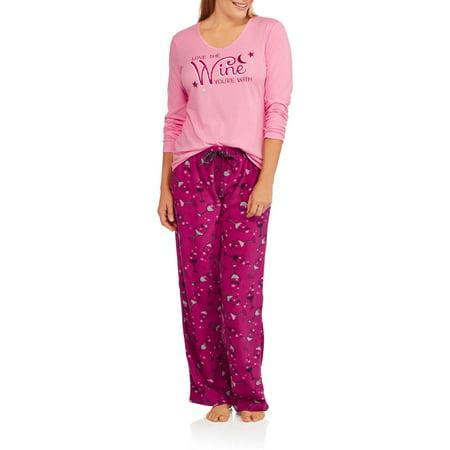 Women's Knit Sleep Top and Microfleece Sleep Pant 2 Piece Sleepwear Set