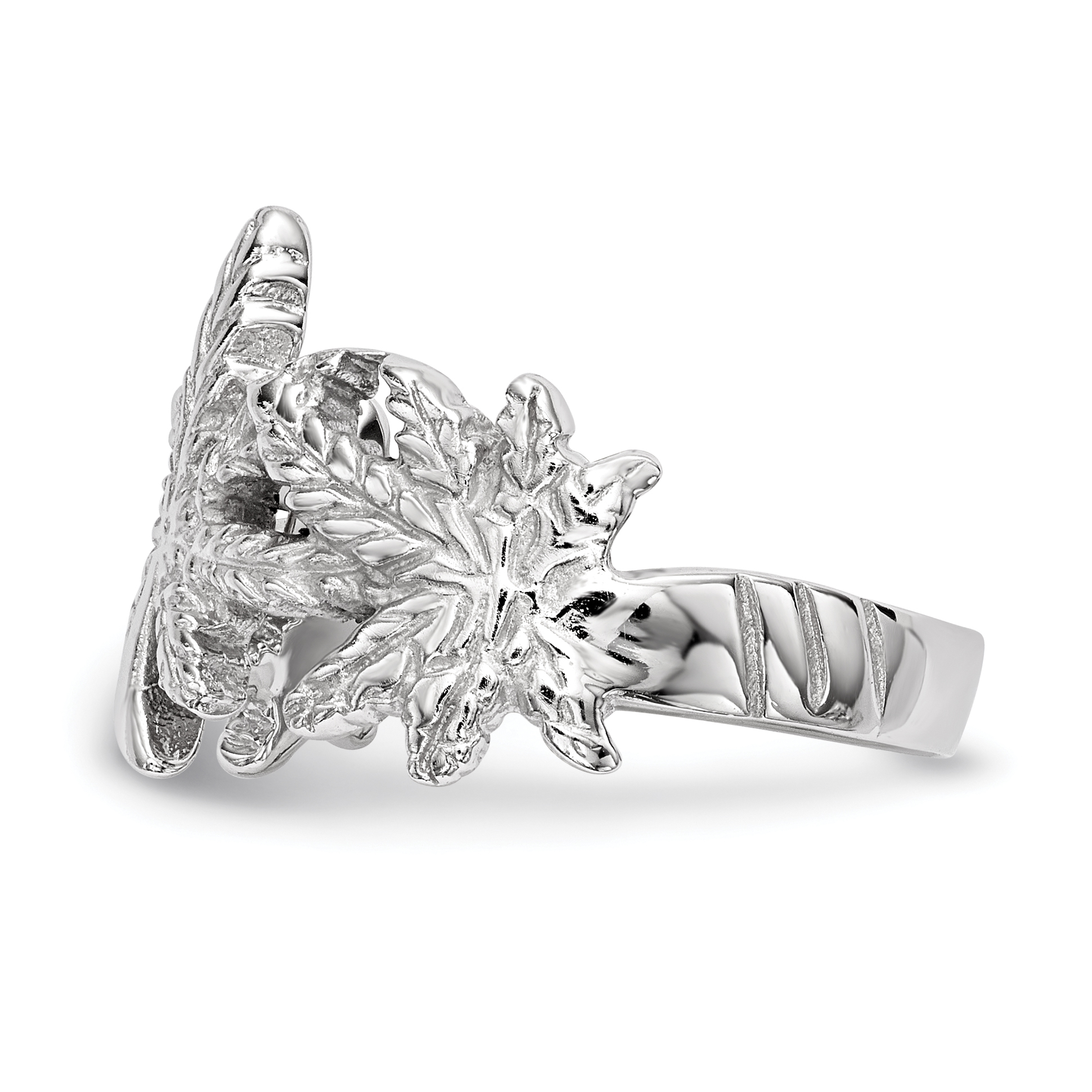925 Sterling Silver Leaf Band Ring Size 8.00 Flowers/leaf Fine Jewelry Gifts For Women For Her - image 1 de 4