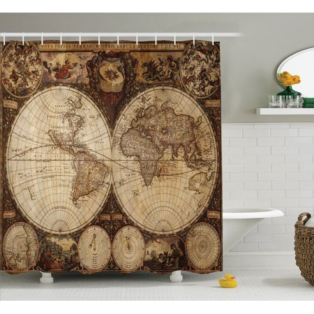 Wanderlust Decor Shower Curtain Set Image Of Old World Map Made In 1720S Nostalgic Style