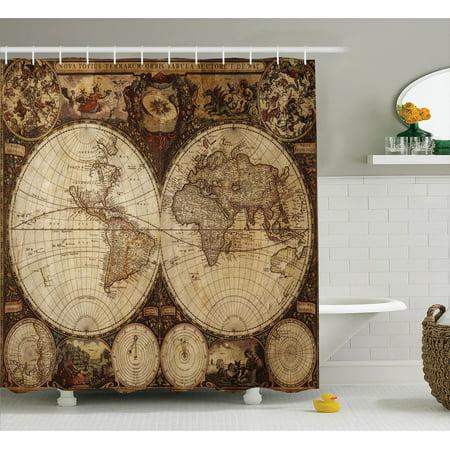 Wanderlust Decor Shower Curtain Set Image Of Old World Map Made In 1720s Nostalgic Style Art