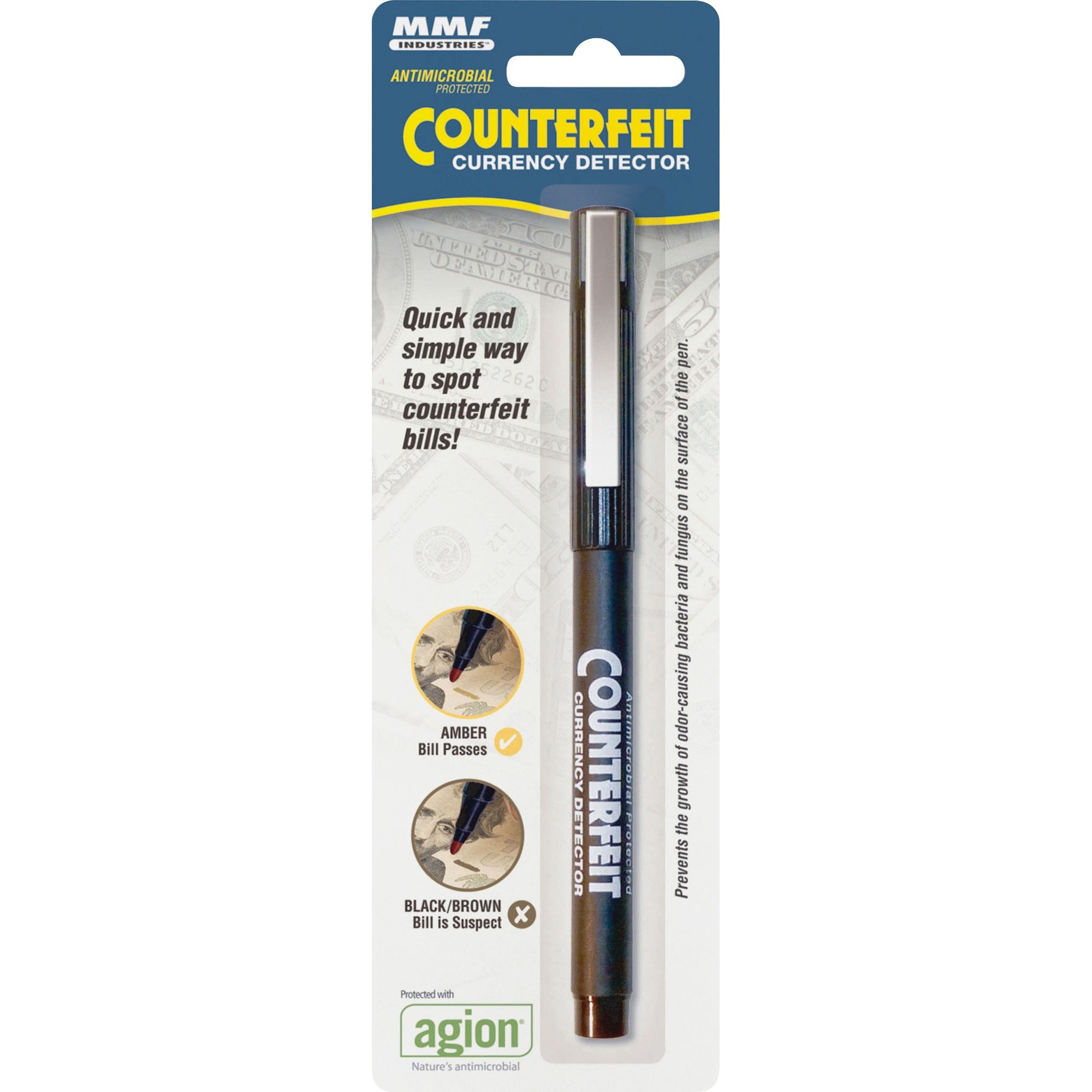 MMF, MMF200045112, Counterfeit Currency Detector Pen, 12 / Dozen, Black