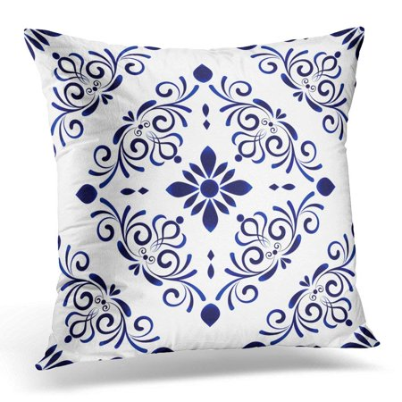 Blue Floral Pillowcases (ARHOME Baroque Style Damask Floral Flower Blue and White Vases Simple Ceramic Pattern Chinese Machine Pillow Case Pillow Cover 20x20 inch )