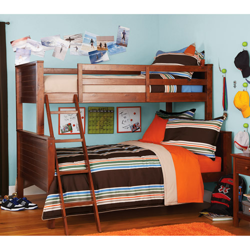 your zone zzz collection twin-over-full bunk bed, walnut (Box B)