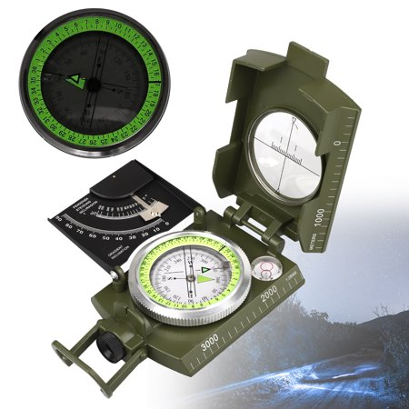 EEEKit Protable Camping Compass,Fluorescent Army Sighting Compass for Outdoor Activities,Waterproof Navigation Compass,Multifunction Military Metal Army Sighting Compass,Army (Se Cc4580 Military Prismatic Sighting Compass With Pouch)