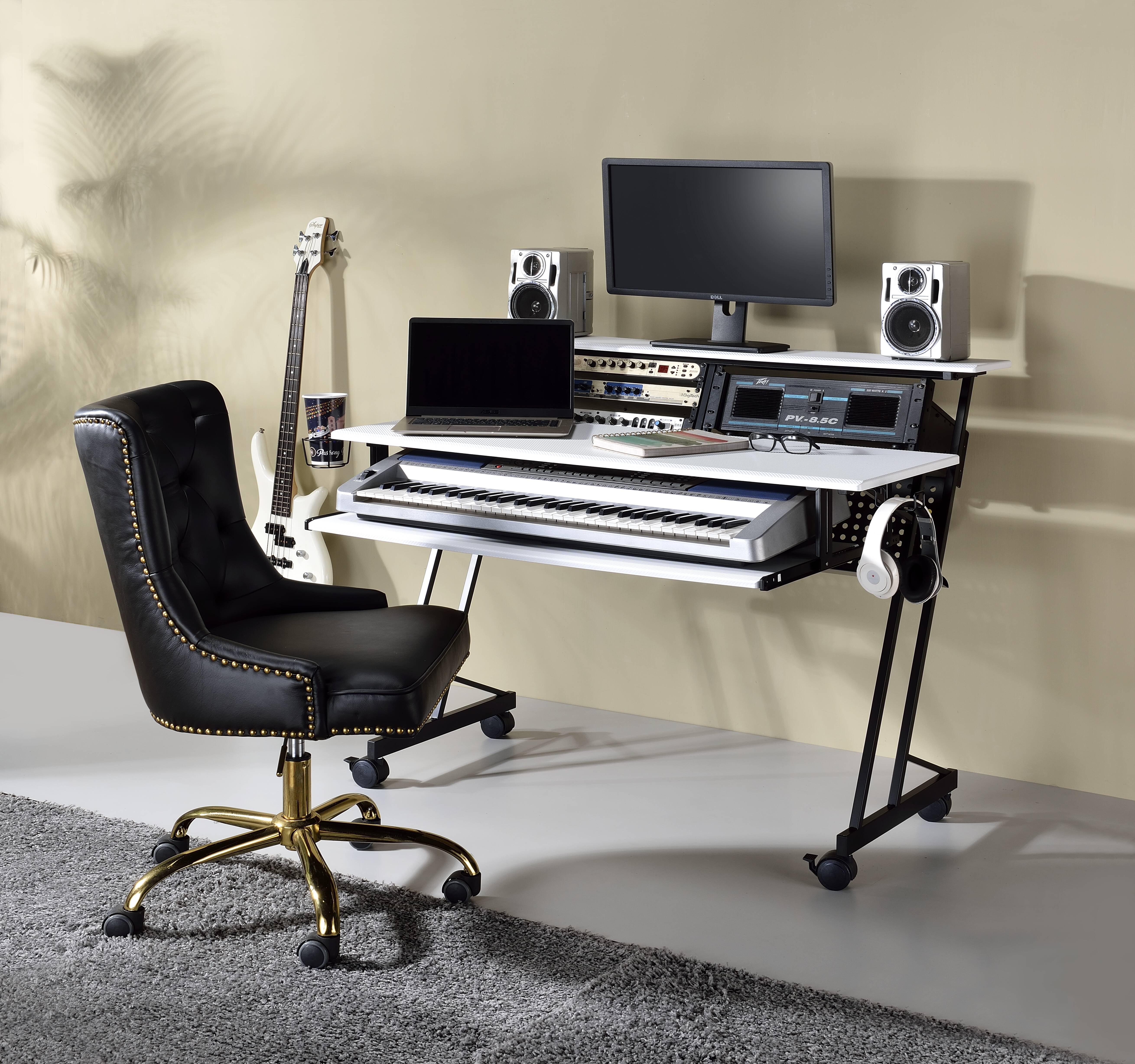 Suitor Music Recording Studio Desk In White Black Walmart Com Walmart Com
