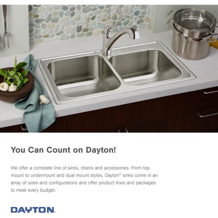 Elkay Dayton Drop In Steel Kitchen Sink DSE125223 Stainless Steel