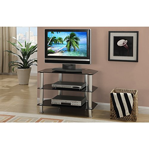 Metal Glass Tv Stand With 3 Shelves Black Silver Walmart Com