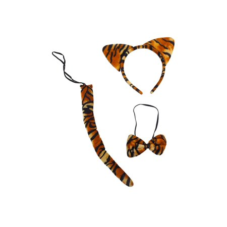 Lux Accessories Tiger Print Cat Ears Tail Bowtie Costume Set Halloween Party Kit (Cat Tiger Costume)