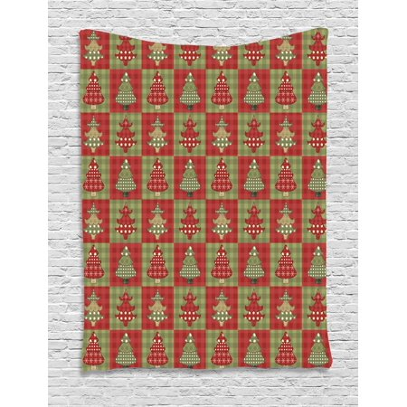 Christmas Tapestry, Different Styled Noel Trees on Checkered Squares Background Vintage Quilt, Wall Hanging for Bedroom Living Room Dorm Decor, 40W X 60L Inches, Ruby Reseda Green, by Ambesonne