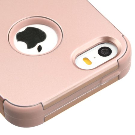 Insten Tuff Hard Dual Layer Rubber Silicone Case For Apple iPhone SE / 5 / 5S - Rose Gold - image 2 of 6
