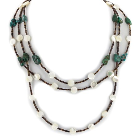350 Retail Tag 3 Strand Authentic Made by Charlene Little Navajo .925 Sterling Silver Natural Turquoise and Mother of Pearl Native American Necklace