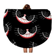 NUDECOR 60 inch Round Beach Towel Blanket Hatter Cheshire Cat Smile Mad Pattern Party Alice Fairy Travel Circle Circular Towels Mat Tapestry Beach Throw