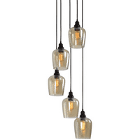Pendants 5 Light With Oil Rubbed Bronze Finish Glass Iron Material 18 inch 300 Watts