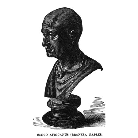 Scipio AfricanusN(236-184 Or 183 BC) Roman General Wood Engraving 19Th Century Of An Antique Roman Bronze Bust Rolled Canvas Art -  (24 x 36)