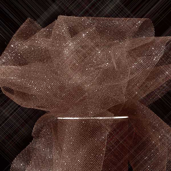 "Brown Sparkling Tulle Roll 6"" X 25 Yards by Paper Mart"