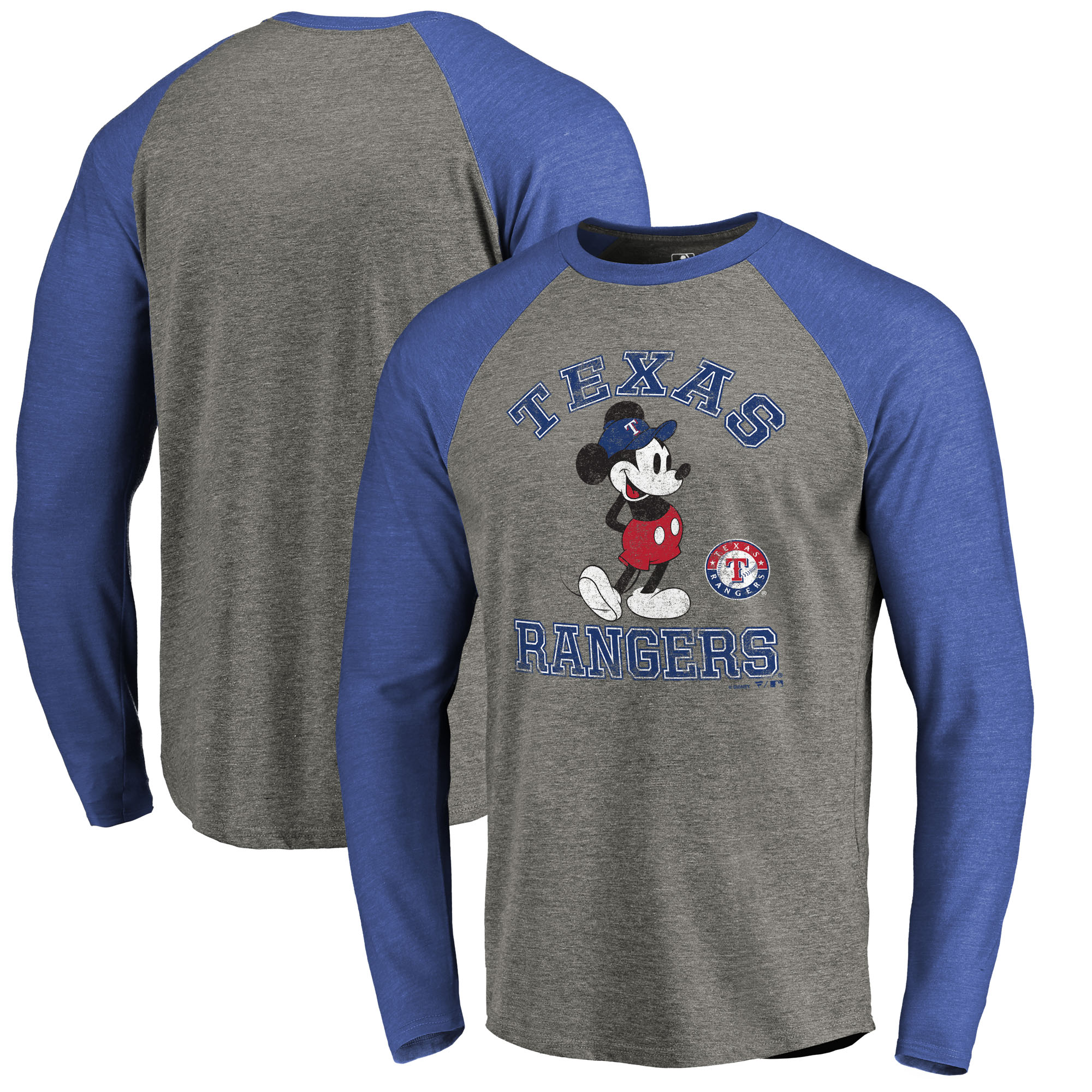 Texas Rangers Fanatics Branded Disney MLB Tradition Long Sleeve Tri-Blend T-Shirt - Heathered Gray