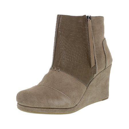 1db53ef26ab Toms Women s Desert Wedge High Taupe Suede Croc Emboss Ankle-High Boot - 7M  ...