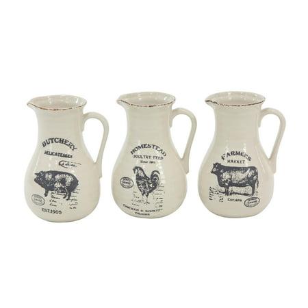 Decmode Set Of Three 10 X 7 Inch Farmhouse Ceramic Pitcher Vases