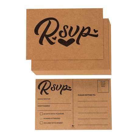 RSVP Cards - 60-Pack Kraft RVSP Postcards, Response Return Card for Wedding, Rehearsal Dinner, Baby Shower, Bridal Shower, Birthday Party Invitation, No Envelopes Needed, Rustic Design, 4 x 6 Inches Destination Rehearsal Dinner Invitations
