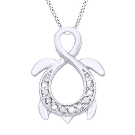 White Natural Diamond Turtle Infinity Pendant Necklace in 14k White Gold Over Sterling Silver (0.1 - Turtle Necklaces