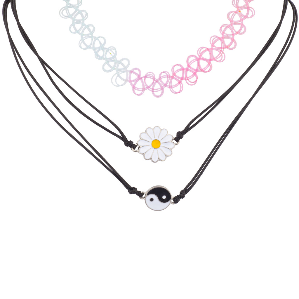 Lux Accessories Sunflower Yin Yang Rainbow Tattoo Choker BFF Best Friends Necklace Set