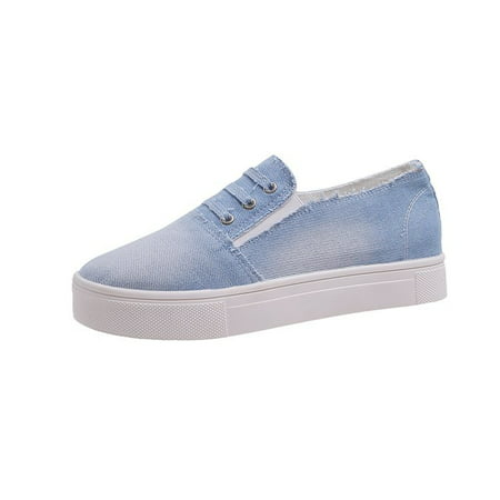 Women Denim Loafers Flats Pumps Canvas Shoes Round Toe Casual Slip on Shoes