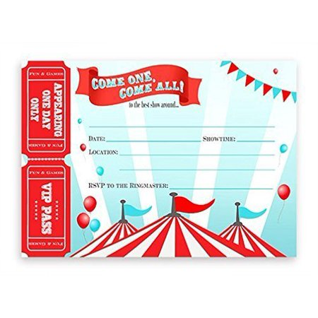 Circus LARGE Invitations - Carnival Invitations - 10 Invitations 10 - Circus Tent Invitations