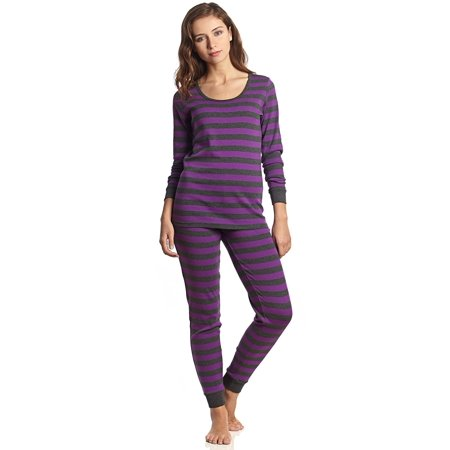 Striped Womens Pajamas - Leveret Women Fitted Striped 2 Piece Pajama Set 100% Cotton (Large, Purple & Grey)