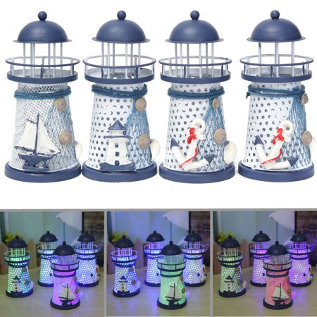 Mediterranean Lighthouse Lantern Iron LED Candle Night Light Sailboat Shell Table Home Table Decor Christmas Gift