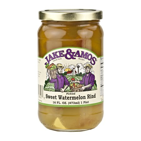 Jake and Amos Pickled Sweet Watermelon Rind 16 oz. Jar (2 (Pickled Sweet)