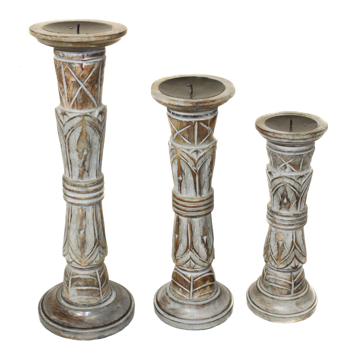 EC World Imports 3 Piece Pompeii Ash Distressed Wood Pillar Candle Holders Set