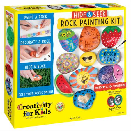 Hide & Seek Rock Painting Kit - Craft Kit by Creativity for Kids - Easy Face Painting For Kids