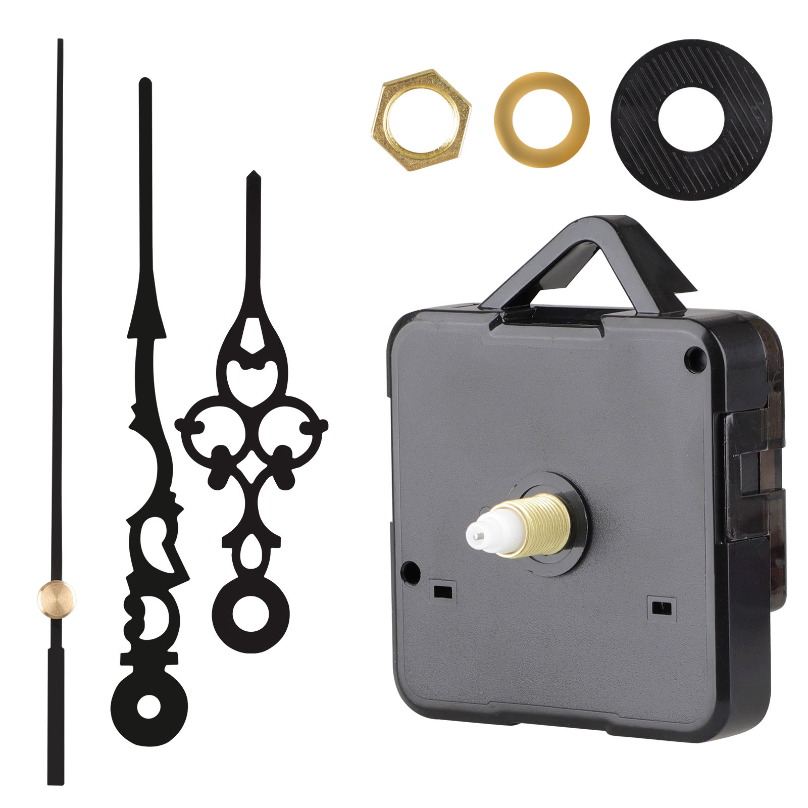 4 Pieces Long Shaft Clock Movements Clock Hands Mechanism High Torque Mechanism with 5 Different Pairs of DIY Clock Repair Parts Replacement for Clock Repair Replacement