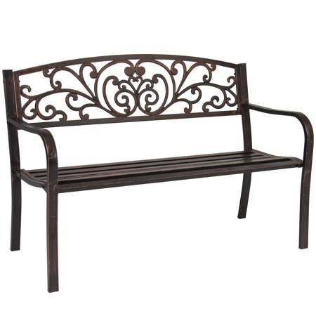 Best Choice Products 50in Steel Outdoor Park Bench Porch Chair Yard Furniture w/ Floral Scroll Design, Slatted Seat for Backyard, Garden, Patio, Porch - Brown ()