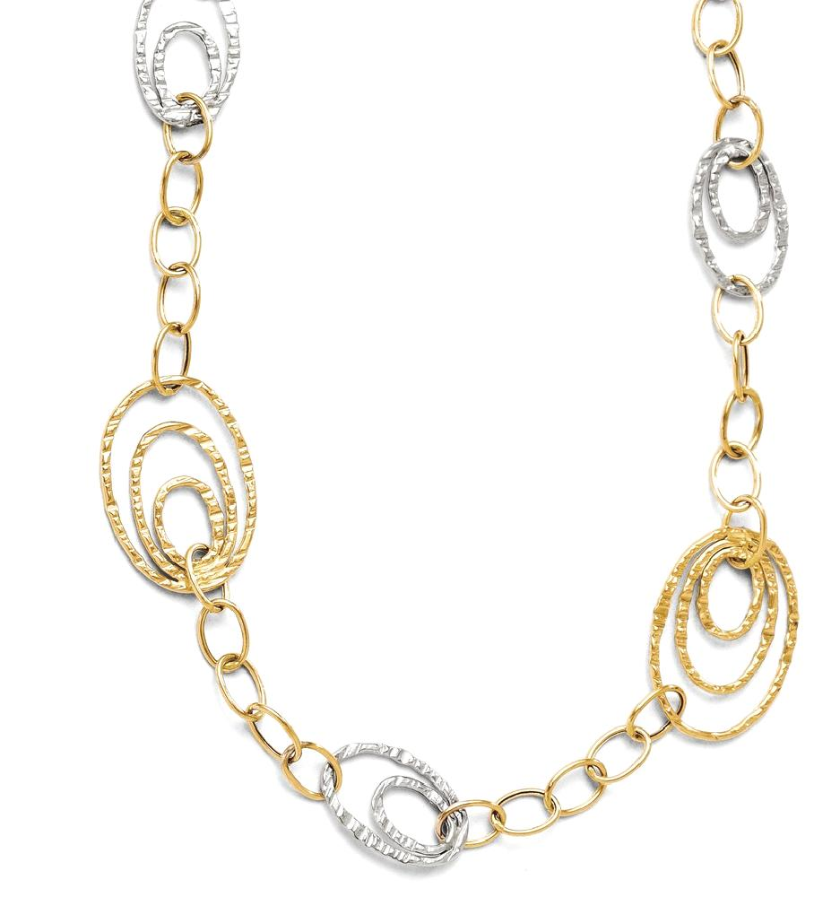 ICE CARATS 14kt Two Tone Yellow Gold Link Bracelet 7 Inch Fancy Fine Jewelry Ideal Gifts For Women Gift Set From Heart