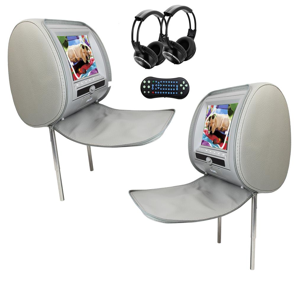 Wireless IR Headphones + High Resolution Headrest DVD Pla...
