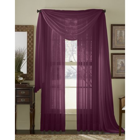 HLC.ME Sheer Voile Window Curtain Scarf - Valance - Fully Stitched & Hemmed - 56