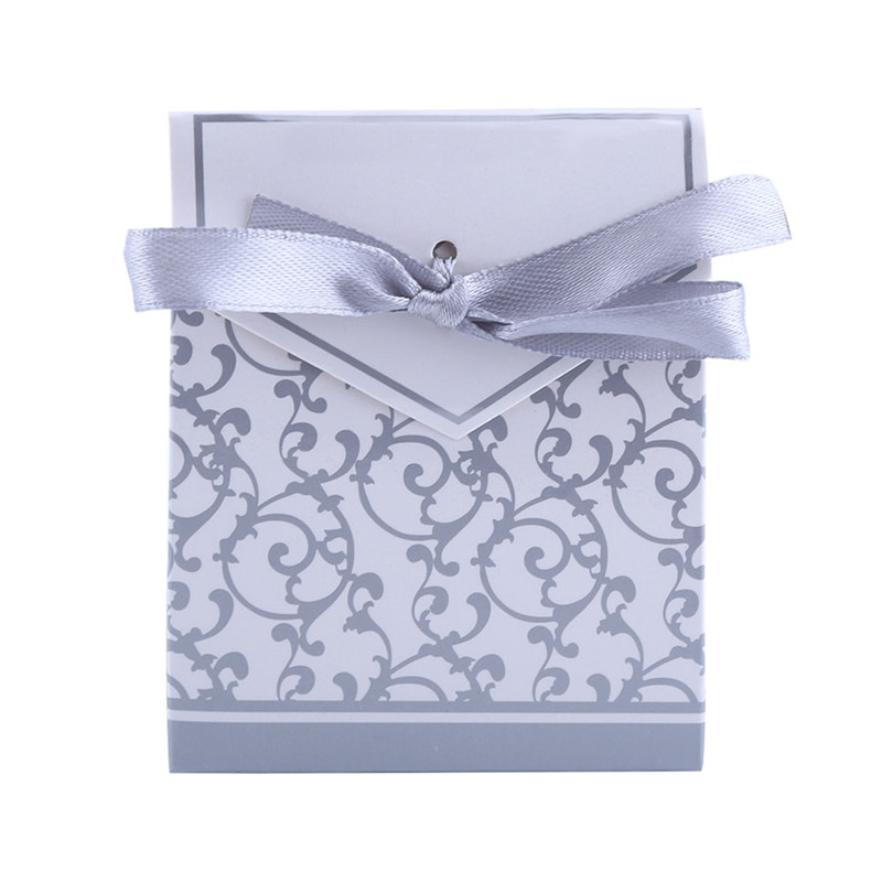 Hilitand 10pcs Lovely Candy Gift Boxes Bags With Ribbon Wedding Party Favors , Wedding Candy box, Candy Gift Box(Golden, Silver)