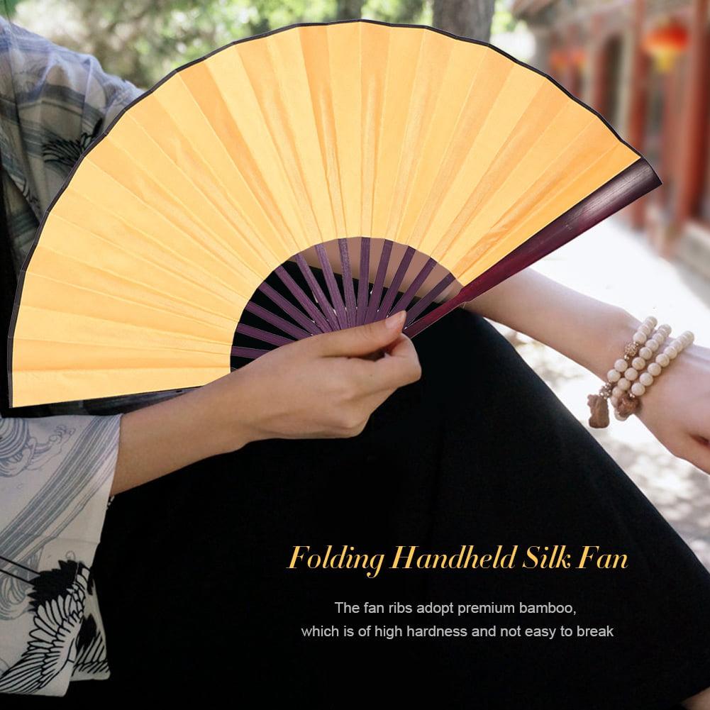 Folding Handheld Bamboo Silk Fan Calligraphy Dancing Chinese Style Fans Handmade Art Room Decor, Folding Fan, Silk Fan